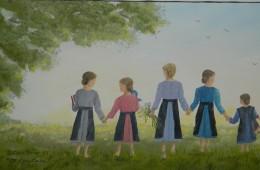 Nickel Mine Amish School Girls by Elsie Beiler