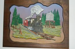 3-D scroll Saw Train picture with Dark Frame made my George King