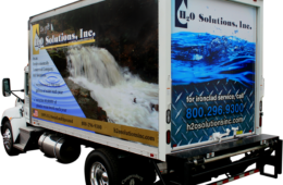 Full color wrap on a 15 to 35 ft box truck. 3M premium vinyl film will be used.  Customer supplies the design.  Any additional work such as design or cab lettering will be an additional charge.  The work will be done by Landis Graphics in Telford, PA.